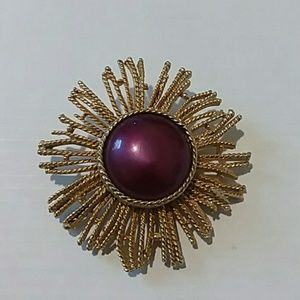 Vintage 1970s Purple Cabochon and Gold Brooch
